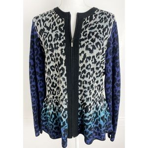 St. John • Blue Ombré Zip Up Leopard Cardigan